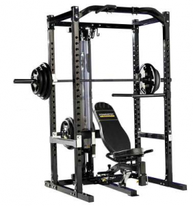 Powertec Power rack: Incl. Lat tower / Leg extension / Leg press / Halterstang lang / 2 korte halters (dumbells) / halterschijven divers